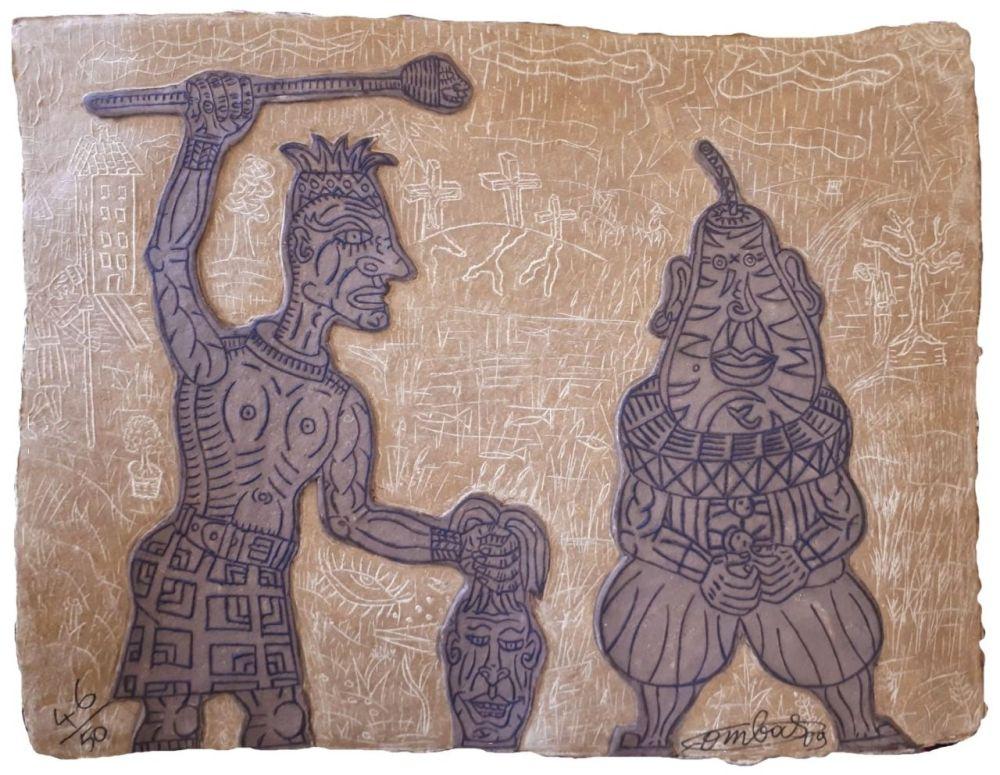 Etching Combas - Tête de poire et artiste givré