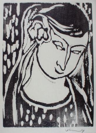 Woodcut Vlaminck - Tête deFemme
