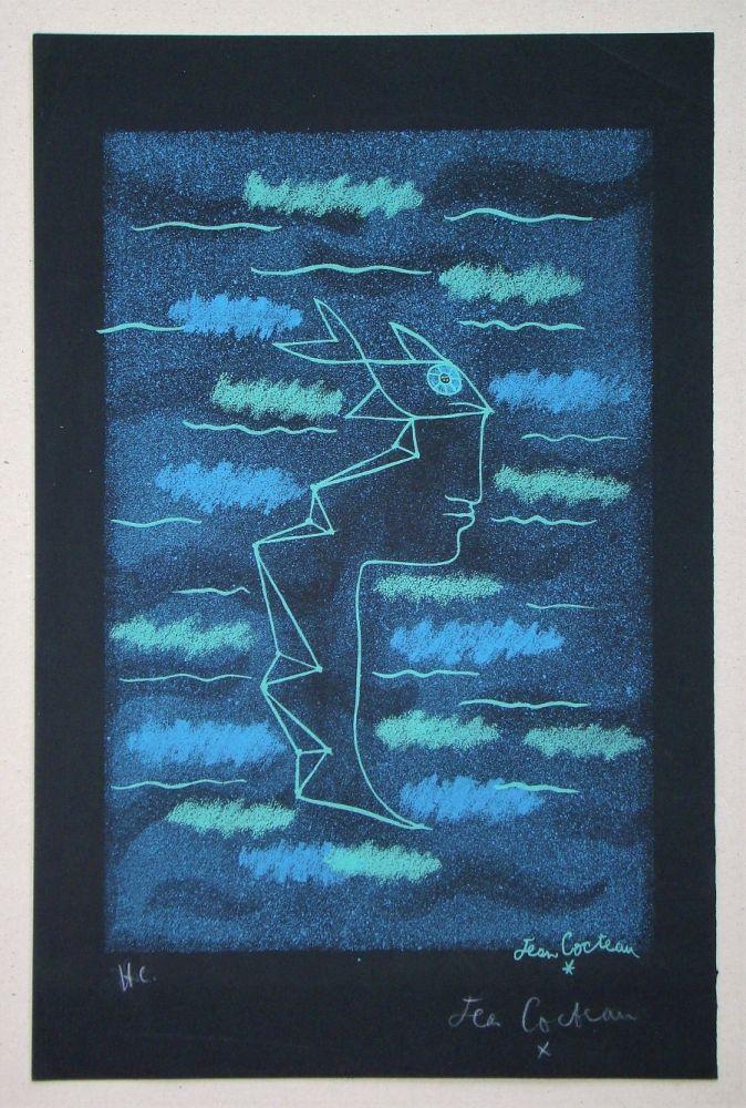 Lithograph Cocteau - Tête d'homme aux yeux poisson