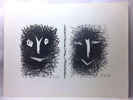 Lithograph Picasso - Têtes de Faunes