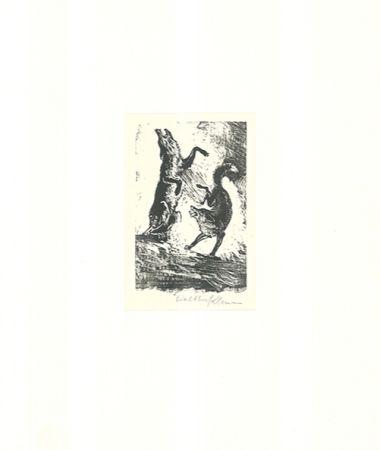 Woodcut Klemm - Tanz der Tiere