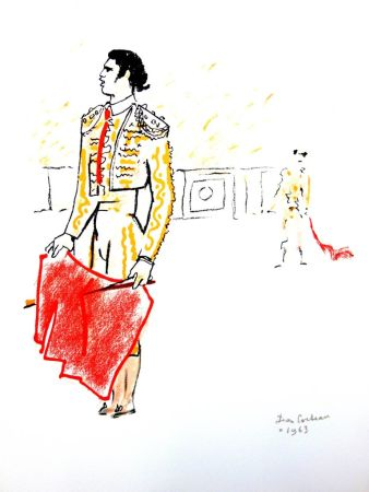 Lithograph Cocteau - Taureaux