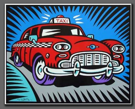 Screenprint Morris - Taxi blue