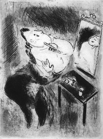 Engraving Chagall - Tchitchikov se rase