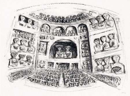 Lithograph Campigli - Teatro
