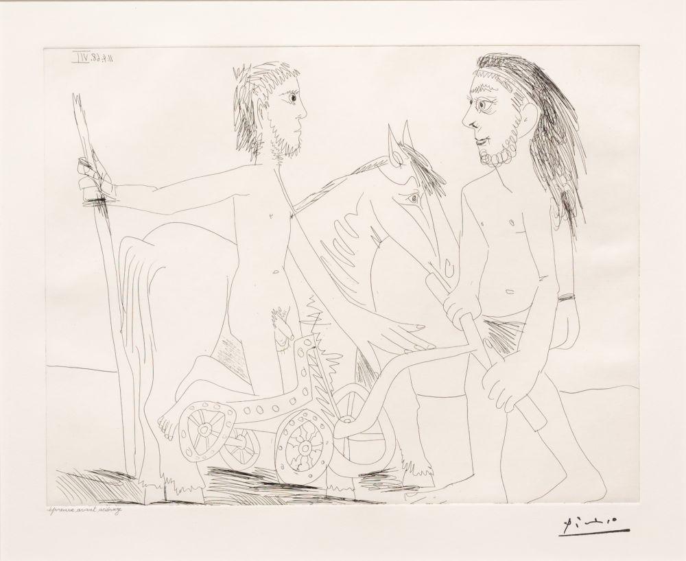 Etching Picasso - Television: Combat de Chars a l'Antique