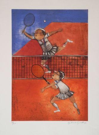 Engraving Boulanger - Tennis