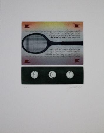 Etching And Aquatint Janak - Tennisschläger / Tennis Racquet