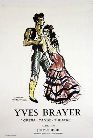 Lithograph Brayer - Teresina et Roland Petit