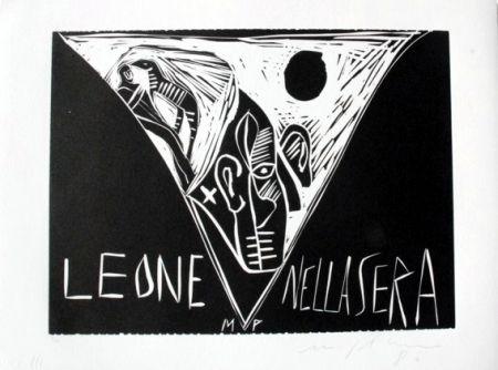 Linocut Paladino - Terra tonda africana 1 - Leone nella sera