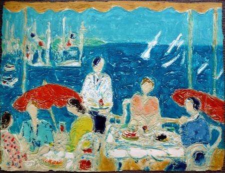 Lithograph Cottavoz - Terrasse au Bord de la Mer