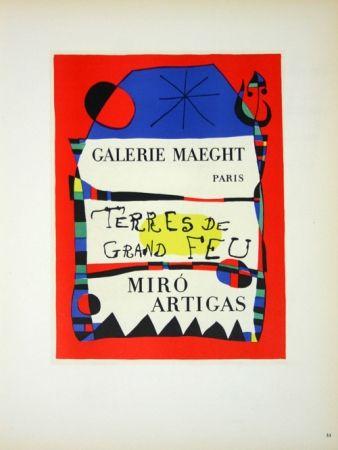 Lithograph Miró - Terre de Grand Feu  Galerie Maeght 1955