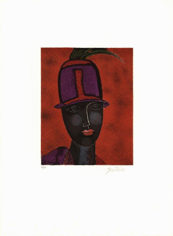 Lithograph Gentilini - Testo con capello rosso