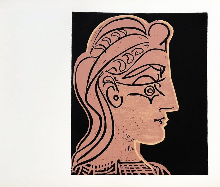 Linocut Picasso (After) - Tete de Feamme