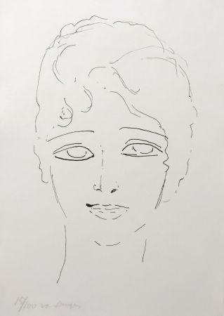 Lithograph Van Dongen - Tete de Femme