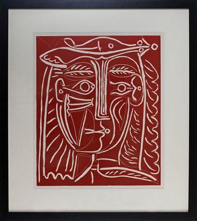 Linocut Picasso - Tete De Femme Au Chapeau, Paysage Avec Baigneurs