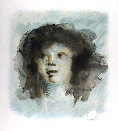 Lithograph Fini - Tete de Jeune Fille
