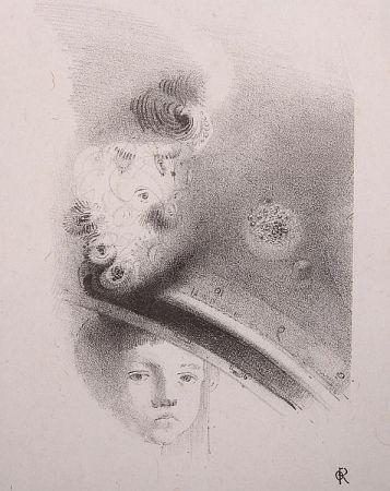Lithograph Redon - Tete d'enfant, de face....
