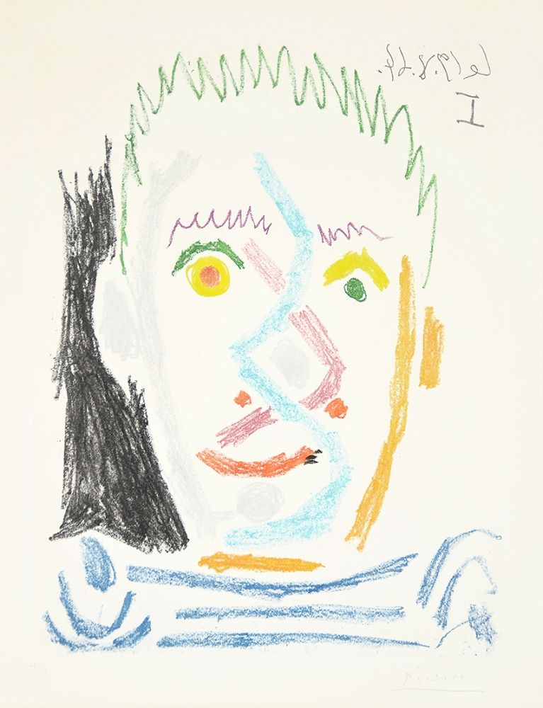 Aquatint Picasso - Tete d'homme au maillot raye (Man's Head with Striped Shirt), 1964