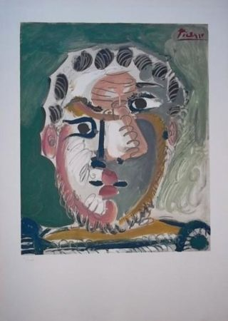 Lithograph Picasso - Tete d'homme barbu