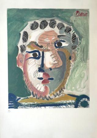 Lithograph Picasso - Tete D'homme Bardu