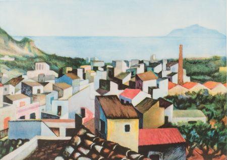 Etching Guttuso - Tetti con monte Pellegrino sullo sfondo