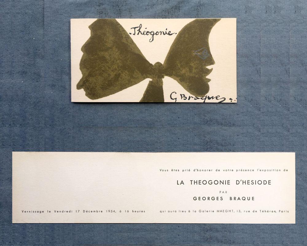 Lithograph Braque - THÉOGONIE. Carton d'invitation au vernissage Galerie Maeght. 1954