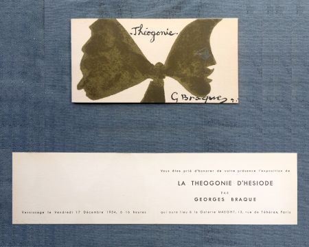 Lithograph Braque - THÉOGONIE. Carton d'invitation au vernissage Galerie Maeght. 1954
