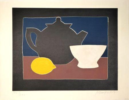 Aquatint Mumprecht - Théière, bol et citron