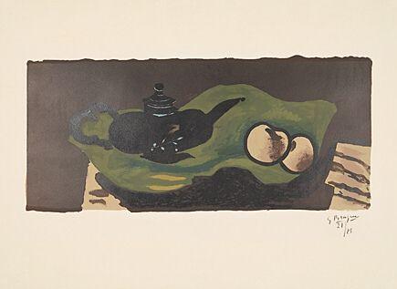 Lithograph Braque - Théière et pommes (Teekanne und Äpfel)