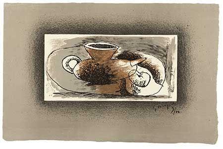Lithograph Braque - Théière sur fond gris