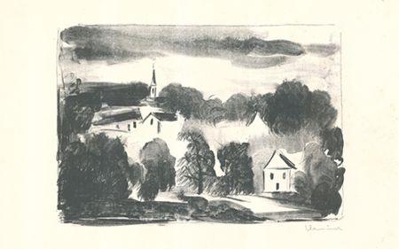 Lithograph Vlaminck - Théméricourt le clocher dans les arbres
