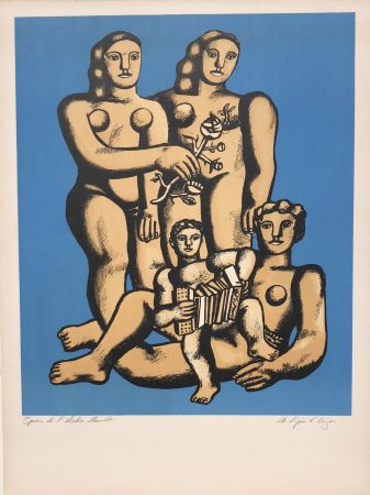Lithograph Leger - The Accordionist's Family