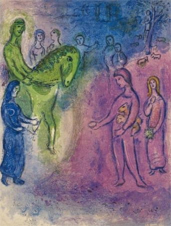 Lithograph Chagall - The Arrival of Dionysophane
