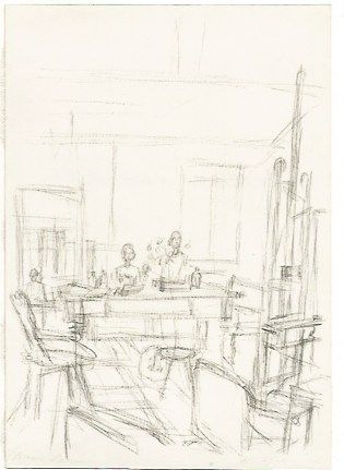 Lithograph Giacometti - The Artist's Studio