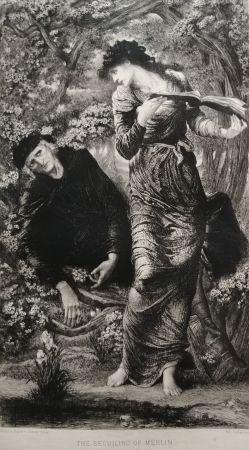 Engraving Burne-Jones - The Beguiling of Merlin