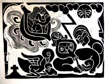 Linocut Heerup - The Boat of Love