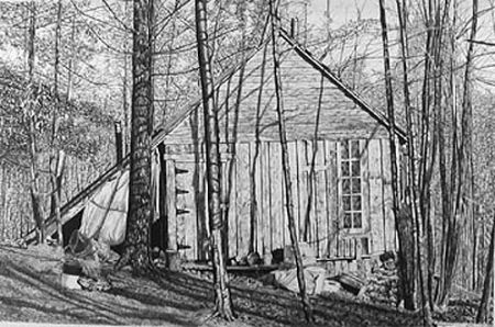 Lithograph Levine - The Brookwood Cabin