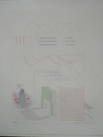 Engraving Hockney - The buzzing of the blue guitar (from the blue guitar)