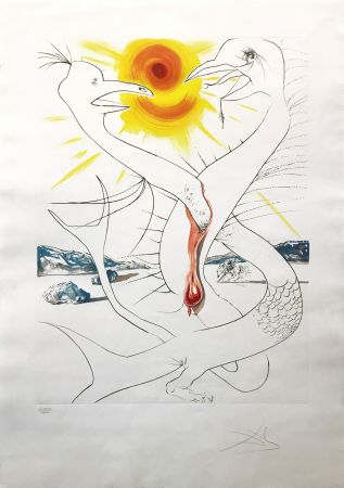 Engraving Dali - THE CADUSEUS OF MARS NOURISHED BY THE BALL OF FIRE OF JUPITER
