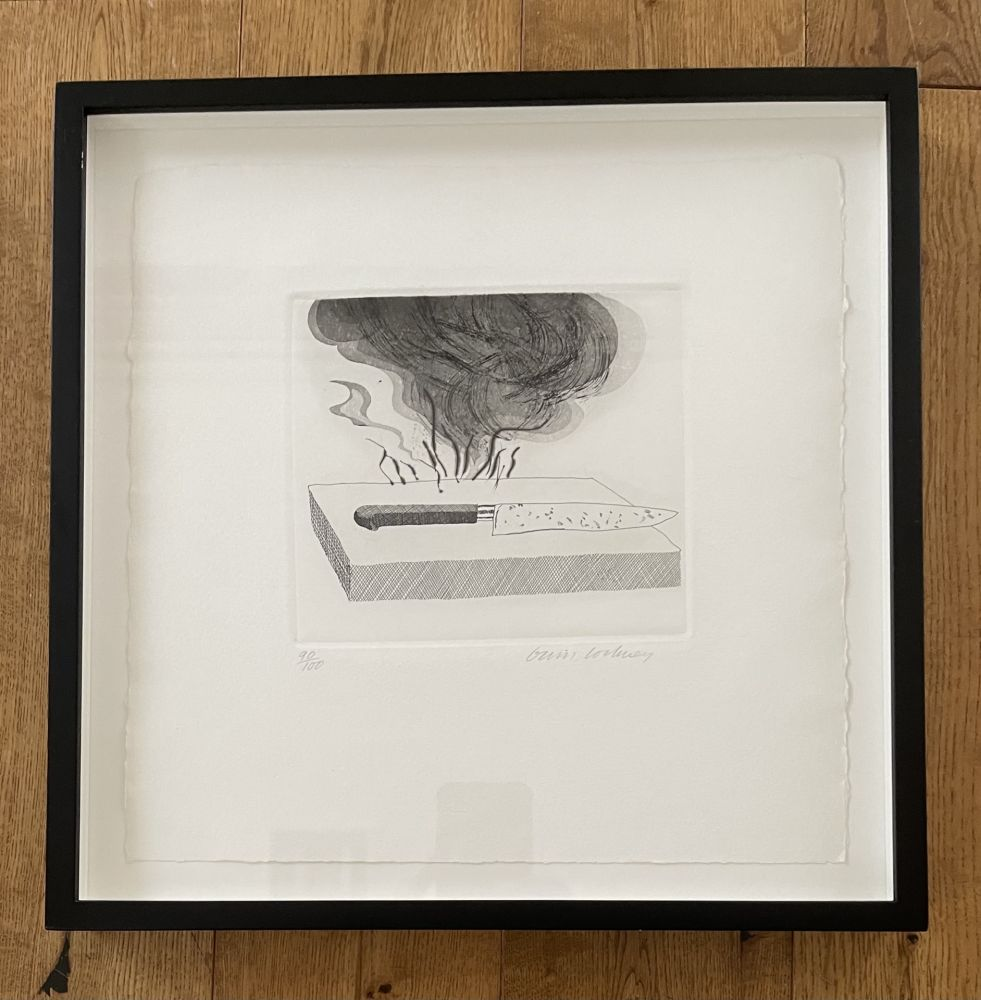 Etching And Aquatint Hockney - The Carpenter's Bench, a Knife and Fire (