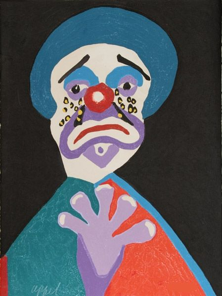 Etching And Aquatint Appel - The clown with the golden tears