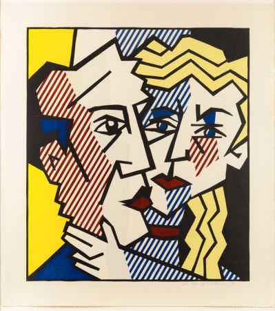 Woodcut Lichtenstein - The Couple, From The Expressionist Woodcut Series