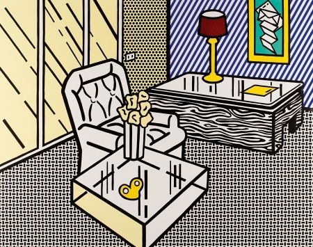 Woodcut Lichtenstein - The Den, from Interior Series