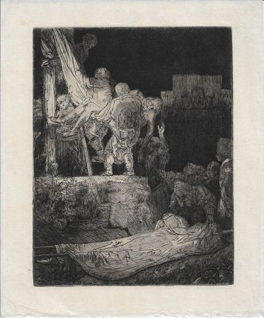 Etching Rembrandt - The Descent from the Cross by Torchlight