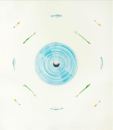 Lithograph Ruscha - The fan and its surroundings