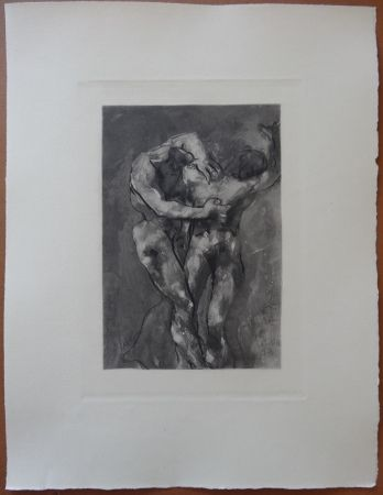 Engraving Rodin - The Fight