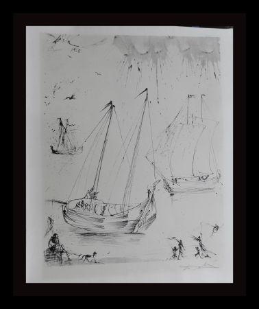 Lithograph Dali - The Fisherman