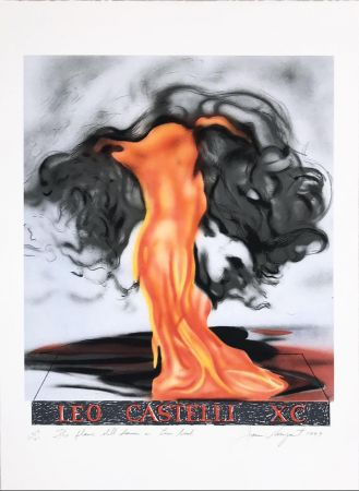 Lithograph Rosenquist - The Flame Still Dances on Leo's Book (not in Glenn) from the portfolio of Leo Castelli's 90th Birthday