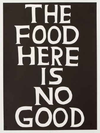 Linocut Shrigley - The food here is no good